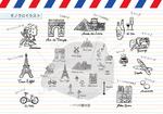 パリの案内図イメージ 線画 モノクロ