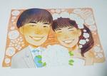 友人の結婚式に際作したものです。ポストカードサイズ。 ファイルが残っていないので写真で…