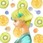 最新のオリジナルイラストです。 フルーツを配置した背景に合わせたフレッシュな印象の女の子をイメージしました。