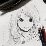 【制作環境】 手描き ミリペン 【制作時間】 約1時間  人気漫画、orangeの高宮菜穂ちゃんを模写しました。