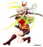 標的に向かって弓を撃った女の子を描きました。
