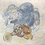大きな青い鳥に人が運ばれているところを水彩画で表現。