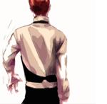 男性の背中を描きました。