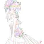 紫陽花を冠に淡い色でまとめた作品です。