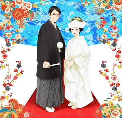 和装結婚式 恋人 友人のイラスト 20代 女のイラスト 和風の