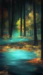 神秘的な森林と川