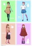 四季をテーマにした女の子のファッションのイラストです。
