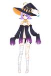 Vtuber様のキャラクターデザインです 魔女・月モチーフ・露出高め・外ハネ紫髪・裸足・手は隠すという内容で承りました