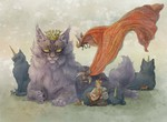 巨大な猫の王様のイラストです。海外の絵本の挿絵風に描きました。