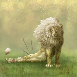 背景のある傷付いたホワイトライオンのイラストです。 ファンタジーな雰囲気を大事にしました。