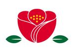 椿モチーフロゴマーク01です。椿の可愛らしさをシンプルに表見しています。花びらの合わせ部分に和服の襟合わせイメージを盛り込んでします。01は地色を赤に統一しインパクトを出しています。商品や企業などのロゴマークにいかがでしょうか。