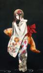 和服美人という要素から膨らませて制作しました。 少女と鯉と着物やその柄など、それぞれに意味をもたせて奥深い作品にできたかと思います。