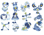 子供向けにデザインした、ポップで可愛らしいテイストの星座キャラクターです。