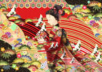 1月をイメージした和風イラスト 線画:SAI 塗り:CLIP STUDIO PAINT 制作時間:約40時間