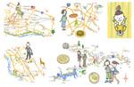 大多摩B級グルメマップパンフレットのために作成したイラストマップの一部