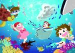 こどもたちが海中で遊ぶ様子を海の中から描いた一枚です。