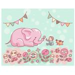 ふんわりやわらかな赤ちゃんとゾウのイラスト。パステル系の優しい色合いで思わずニッコリする雰囲気の絵柄です。