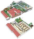 ワイン醸造会社の工場見学用パンフレットのための館内見取り図