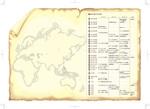 パンフレットのための北米、南北大陸を除いた世界地図と年表