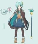 「チョコミントアイスの魔法少女」をテーマにデザインしたキャラクターイラストです。