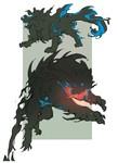 煤虎の別形態案です。 以下説明  煤虎は黒い霧状のベールを纏える。これにより、相手より身体を大きく 見せたり、相手から視認しづらくする。(夜限定)しかし口を開けると、エネルギーが漏れ出て口周辺が光ってしまう。