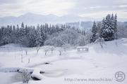 山と公園の雪景色