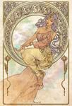 ミュシャの作品のパロディで制作したファンアートです。ミュシャ 風、アールヌーボー風のサンプルにご参照ください