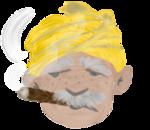 タバコを吸っているおじさん、黄色いターバン