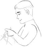 編み物をしている男の人