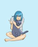青い髪の元気な女の子と、ロシアンブルー。