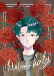 赤いゼラニウムの持つ「憂鬱」という花言葉をイメージした男の子のイラストです。