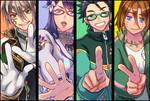 紙幣を擬人化したキャラクター。 左から一万円、五千円、千円、二千円。