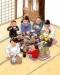 昭和のなつかしい朝食風景。家族揃って幸せなひとときです。