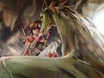 村のものから嫌われるドラゴンとよそ者の少年との心の交流をイメージしました。  fantasy; a Dragon and boy