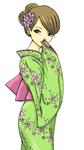 着物の女性のイラストです。
