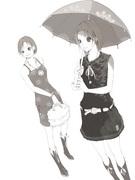 ワンピース着た女子。日傘
