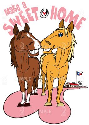 オリジナルイラストラブラブな馬 イラスト Skillots