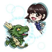 書籍挿絵キャラクター、ドラゴン君とOLさん。