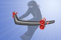 ジェットエンジンを使ったスノーボードのイラスト
