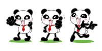 ポータルサイトのキャラクター パンダ 3ポーズ