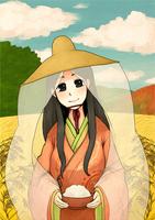 お米のパッケージ用の着物の女性