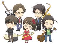 バンドメンバーのデフォルメキャラクターイラスト