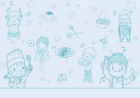 子ども向けの食品を扱った評論系同人誌の背景イラスト