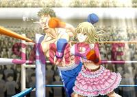 綺麗系女の子VS男子ボクサーのイラスト
