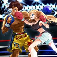 「女の子VS男」のボクシングのイラスト