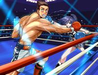 女の子VS男子ボクサーのイラスト