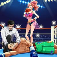 ギャル系女の子VS男子ボクサーのイラスト