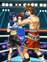 ボーイッシュ系女の子VS男子ボクサーのイラスト