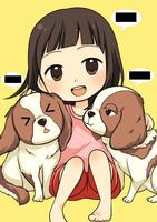 娘3歳と犬2匹を、かわいい感じで描いて頂きたいです。の納品作品