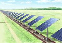 廃線線路を利用した、追尾型太陽光発電の風景画